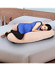 Novo 3.5kg PP Cotton comfort Pregnancy & Maternity Pillow, Peach - 145x90x25cm