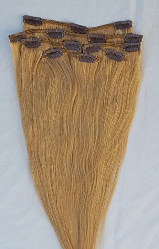 """18"""" 100% Human Hair Extensions Clip in 7Pcs # Rose Gold"""
