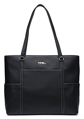 NNEE Classic Laptop Leather Tote Bag for 15 15.6 inch Notebook Computers Travel Carrying Bag with Smart Trolley Strap Design - Black