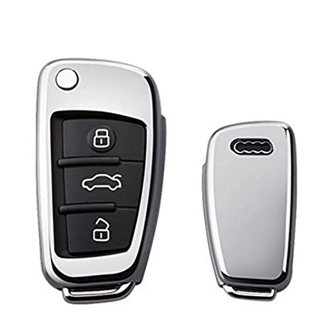 with key chain Fit For Audi 3 Button Key Cover A1 S1 A3 S3 RS3 A4 S4 RS4 A6 S6 RS6 Q2 Q3 Q7 TT TTS R8 Flip Case Remote Protector Silver
