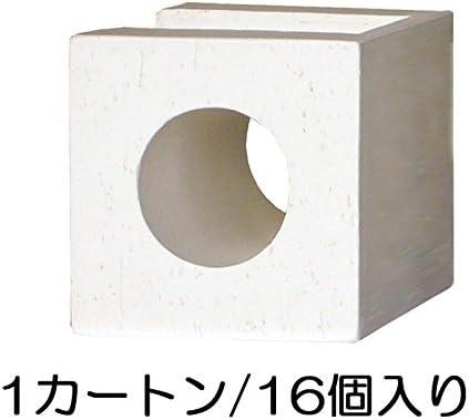 ブロック せっき質無釉ブロック ポーラスブロック100コーナー 白土 サークルA(配筋溝あり・1面フラット) 16個セット単位 屋外壁