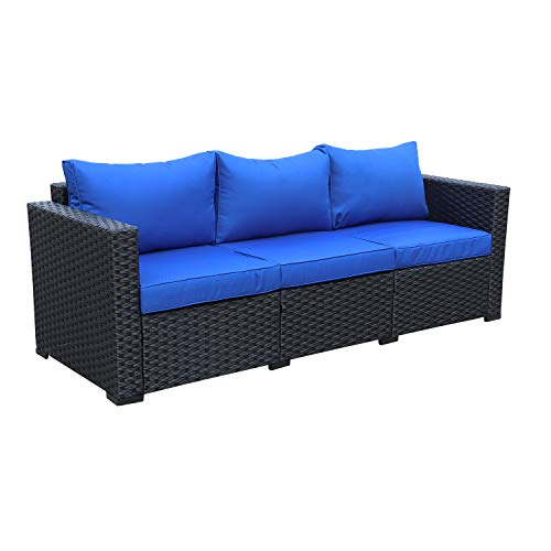 Black Rattan - Patio PE Wicker Couch - 3-Seat Outdoor Black Rattan Sofa Furniture with Royal Blue Cushion