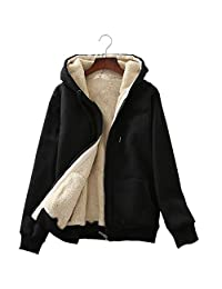 Flygo Womens Casual Winter Thick Fleece Lined Zip up Hoodie Sweatshirt Jacket