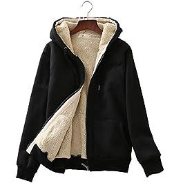 Women's Casual Winter Warm Sherpa Fleece Lined Full-Zip Hooded Jacket Coat