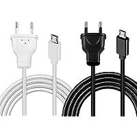 Powermaster Samsung Serisi 220 Fişli Örgülü Şarj Kablosu (Siyah Beyaz)