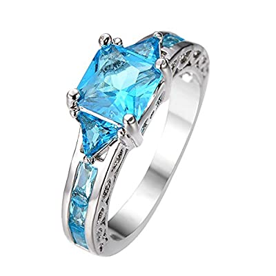 Rongxing® Aquamarine birthstone Wonderful Womens White Gold Filled Engagement Rings Set Gifts Size 6-10