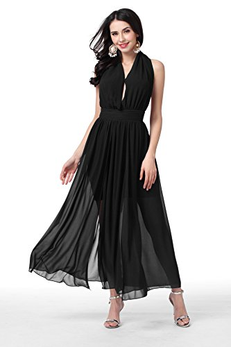 GLOBAL VASION Women's Vintage Maxi Dresses (M, Chiffon Black)