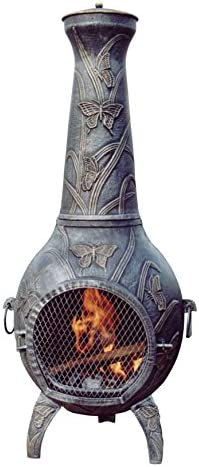 Oakland Living Butterfly Chimenea, 53-Inch, Antique Pewter