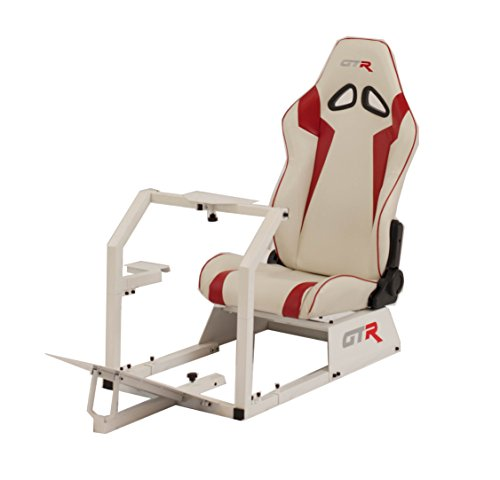 Cheap GTR Racing Simulator GTA-WHT-S105LWHTRD GTA Model White Frame with White/Red Real Racing Seat, Driving Simulator Cockpit Gaming Chair with Gear Shifter Mount