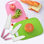 Home Servz Lettuce Knife 3 Sizes and Cutting Board Set - Serrated Nylon Plastic Knife - Children's Cooking Salad Knives - BPA-Free Kids Safe Use 16 THE HIGHEST QUALITY THAT YOU DESERVE: When comes to food premium quality is a must- that's why we offer you an amazing set constructed by the finest materials.All of our Lettuce Knife and Cutting Board materIal are made from 100% Food Grade safe, BPA Free, which odorless. and non-toxic. What is more, all of our products carry a FDA and LFGB certification standards.- Guaranteed to Keep Your Family Safe! THE SET LNCLUDES : Green Cutting Board,-11Inch large Plastic Nylon Lettuce Knife. - 10 Inch medium,Nylon Serrated Knife. - 9 Inch small Children's Cooking Salad Knives. FUNCTION AND USE : Set of 3,Serrated Edges Safe Lettuce and Salad Knives. - For Precision Cutting.Such as ,Cheese,Bread,vegetable, zucchini, carrots, potatoes, apples,citrus,tomatoes, peaches and sweet potatoes, Be Children's a good helper in kitchen . make Kids to be independent chefs!