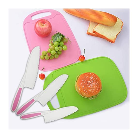 Home Servz Lettuce Knife 3 Sizes and Cutting Board Set - Serrated Nylon Plastic Knife - Children's Cooking Salad Knives - BPA-Free Kids Safe Use 8 THE HIGHEST QUALITY THAT YOU DESERVE: When comes to food premium quality is a must- that's why we offer you an amazing set constructed by the finest materials.All of our Lettuce Knife and Cutting Board materIal are made from 100% Food Grade safe, BPA Free, which odorless. and non-toxic. What is more, all of our products carry a FDA and LFGB certification standards.- Guaranteed to Keep Your Family Safe! THE SET LNCLUDES : Green Cutting Board,-11Inch large Plastic Nylon Lettuce Knife. - 10 Inch medium,Nylon Serrated Knife. - 9 Inch small Children's Cooking Salad Knives. FUNCTION AND USE : Set of 3,Serrated Edges Safe Lettuce and Salad Knives. - For Precision Cutting.Such as ,Cheese,Bread,vegetable, zucchini, carrots, potatoes, apples,citrus,tomatoes, peaches and sweet potatoes, Be Children's a good helper in kitchen . make Kids to be independent chefs!
