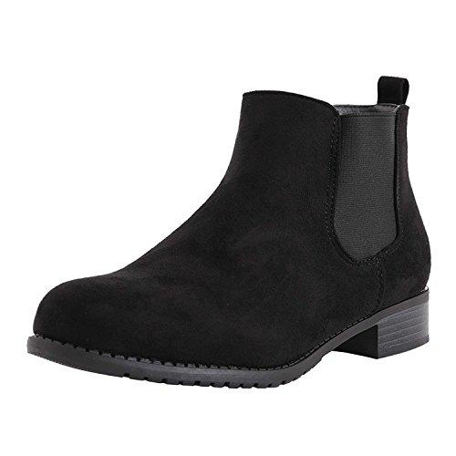 SAUTE STYLES Womens Flat Block Heels Chelsea School Ankle Boots Size 3-8 Black Suede