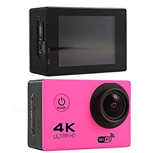 Sports Camera Sports Video 4K WIFI Action Cam 12 MP Underwater Camcorder HD 1080P and 2 Batteries 170° Wide-Angle pink