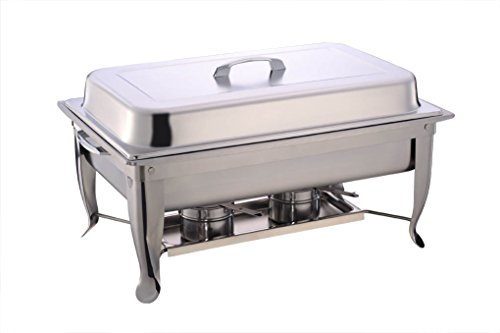 Met Lux Full Size 9 Quart Rectangular Folding Chafer Set Stainless Steel 1ct Box - Restaurantware ()