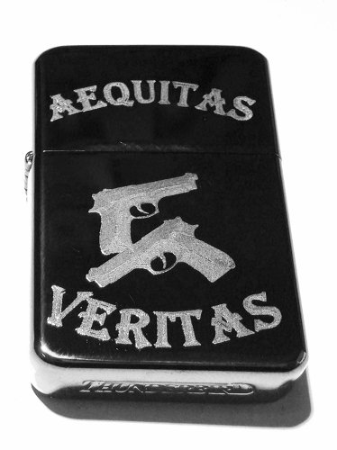 Vector KGM Thunderbird Custom Lighter - Aequitas Veritas Saints Prayer GUN Logo Sparkle Black