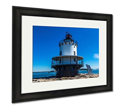 Ashley Framed Prints Spring Point Ledge Light Is A Sparkplug Lighthouse In South Portland Maine That, Modern Room Accent Piece, Color, 34x40 (frame size), Black Frame, - South Maine Portland Frame Shop