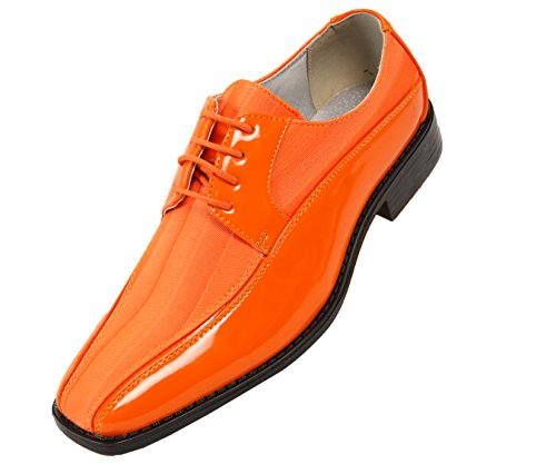 Viotti Men's Formal Oxford Orange Striped Satin and Patent Tuxedo Classic Lace