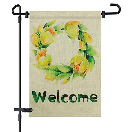 (Garden Flag, Welcome Tulip Floral Wreath Decorative Flags 12 x 18 Inch Double Sided Pattern Colorful All Weather Non Fading Two Layers of Burlap for Outdoor Garden)