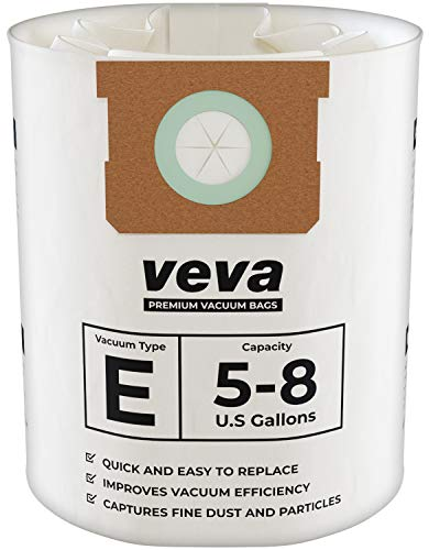 VEVA 15 Pack Premium Vacuum Filter Bags Type E 9066100 Work with Shop Vac 5-8 Gallon Vacuum, Part # SV 90661