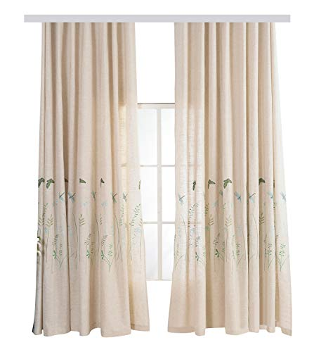 (Elegant Countryside Free Style Butterfly Embroidery Window Curtain Panel Rod Pocket Top Home Decoration Draperies for Living Room Bedroom Living Room Kids Room(1 Panel, W 50 x L 84 inch, Beige))