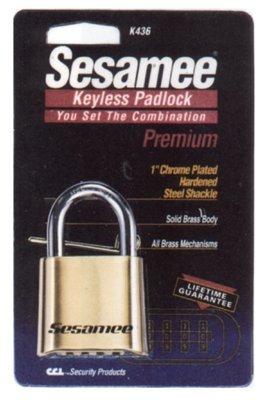 Sesamee Keyless Padlocks, 5/16 in Diam, 1 in L X 1 in W, Brass, Corbin (4 Pack)