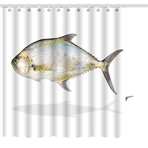 MuaToo Shower Curtain deep sea fish isolated on white background talang queenfish swimming popular in gamefish Graphics Prints Bathroom Decor Set with Hooks Shower Curtain Liner 3678 Inches Gamefish Kit