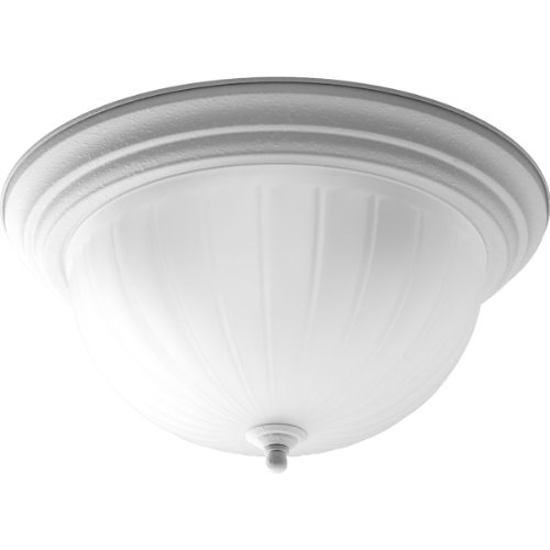 Progress Lighting P3818-30 3-Light Close-To-Ceiling with Etched Ribbed Glass, White