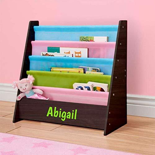 Personalized Dibsies Kids Bookshelf (Espresso with Pastel Fabric) ()