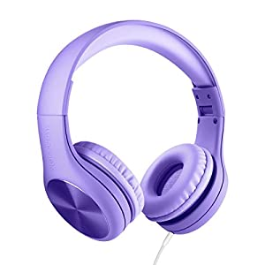 New! LilGadgets Connect+ Pro Premium Volume Limited Wired Headphones with SharePort for Children / Kids (Purple)