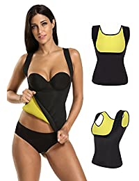 Firecos Slimming Body Shaper for Women Belly Fat Burner Hot Sweat Sauna Vest Tank Top Weight Loss Shapewear No Zipper Black