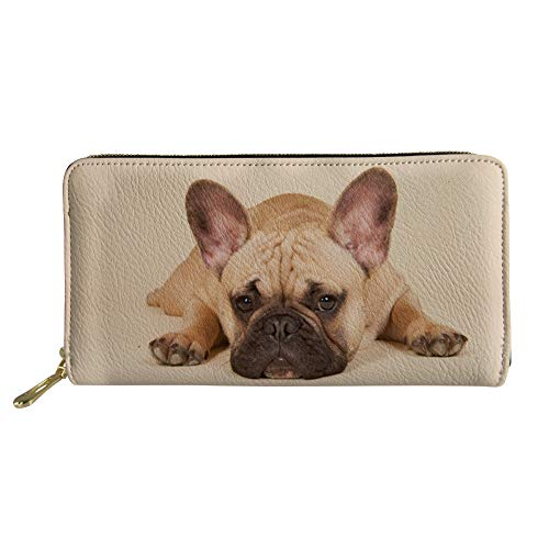 Zipper French Purse - Showudesigns Leather Hand Bag Long Wallet with Money Clutch Hand Bag Zipper French Bulldog