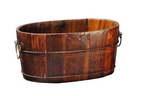 (Antique Revival Wooden Oval-Shaped Sink, Natural)