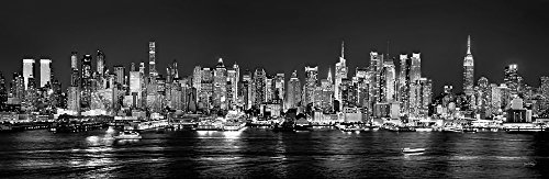Skyline City Poster (New York City Manhattan Midtown Skyline PHOTO PRINT UNFRAMED NIGHT Black & White BW NYC 11.75 inches x 36 inches Photographic Panorama Print Photo Picture)