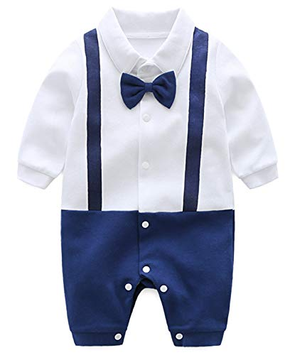 YOUNGER TREE Newborn Boy's Gentleman Formal Romper with Bow Tie One Piece Outfit Long Sleeve Onesie Organic (White and Blue Romper with Blue Tie, 0-3 Months)