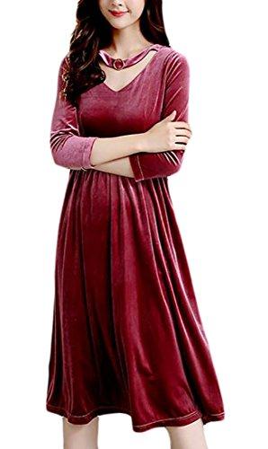 Sleeve Picture Elegant Long Velvet s Midi Neck Loose Jaycargogo V Dress Women As xqEXYXw7T