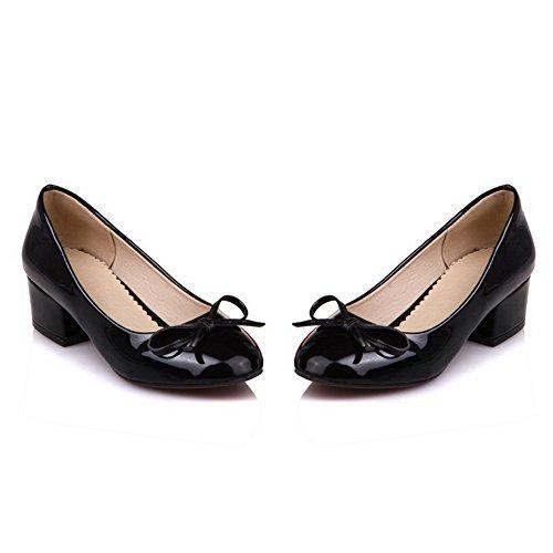Balamasa Femmes Arcs Chunky Talons Bas-coupe Urethane Pompes-chaussures Noir