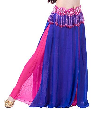 Dark Rose Maiden Costumes (Dance Fairy Belly Dance High Slit Chiffon Skirt(Dark Blue & Rose Red,Not contain Belt))
