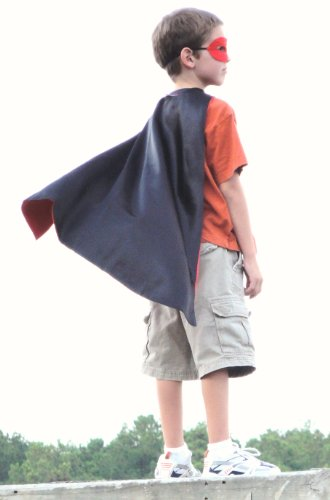 Black Red Superhero Kit Satin Reversible Cape, Mask & Cuffs Set (Spiderman Reversible Costume)