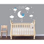 LUCKKYY Sweet Dreams My Little Owl Wall Decal Vinyl Wall Sticker Baby Nursery Decor Kids Room Wall Stickers (Blue+white)