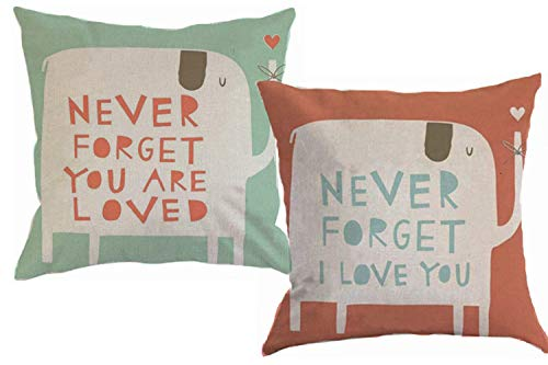 Foozoup Animal Style Lovely Cartoon Red Green Elephant Pass Love Letters Cotton Linen Home Decorative Throw Pillow Case Cushion Cover Sofa Couch 18 x 18 inch by Foozoup