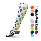 Go2 Compression Socks (1 Pair) for Women and Men Athletic Running Socks for Nurses Medical Graduated Nursing Compression Socks for Travel Running Sports Socks(Polkadot, M)