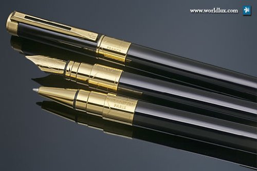 Waterman Perspective Black w/ Gold Medium Point Fountain Pen - 1750132 by Waterman