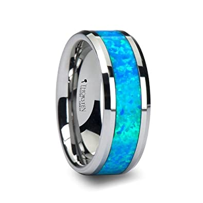 QUASAR Tungsten Wedding Band with Blue Green Opal Inlay 8mm