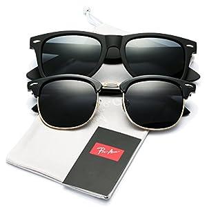 Pro Acme (Pack of 2) Semi Rimless Polarized Clubmaster Sunglasses for Men Women (Clubmaster + Wayfarer)