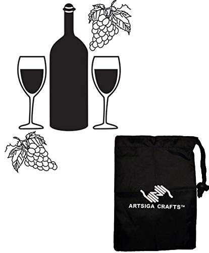 Darice DIY Crafts Supplies Embossing Folders for Card Making Wine Bottle Glasses 4.25 x 5.75 inches 30041349 Bundle with 1 Artsiga Crafts Small Bag ()