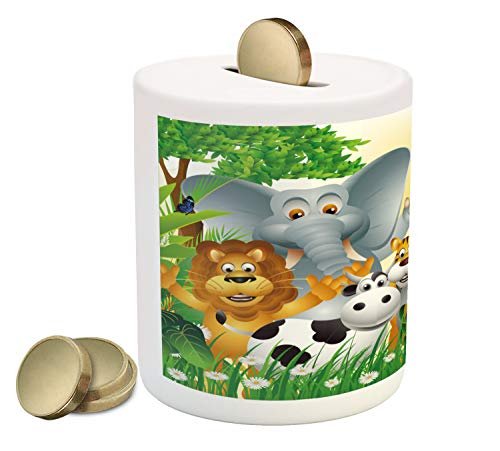 Ambesonne Animal Piggy Bank, Cute Animals in Jungle Elephant Giraffe Panda Bear Pig Lion Hippo Rhino Cartoon Art, Printed Ceramic Coin Bank Money Box for Cash Saving, Multicolor ()