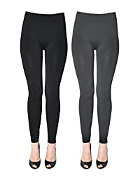 K. Bell Women's Soft and Warm Fleece Lined Leggings 2-Pack