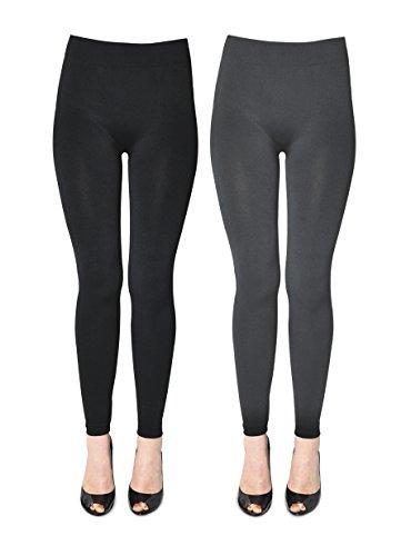 K. Bell Women's 2 Pack Soft and Warm Fleece Lined Leggings, Black/Charcoal, Small/Medium