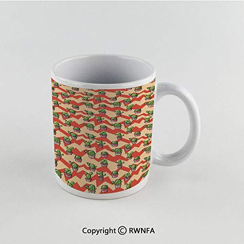 11oz Unique Present Mother Day Personalized Gifts Coffee Mug Tea Cup White Cactus,Geometric Background with Zigzags Mexican Inspirations Plant Arrangement Botanical Decorative,Multicolor Funny Cerami