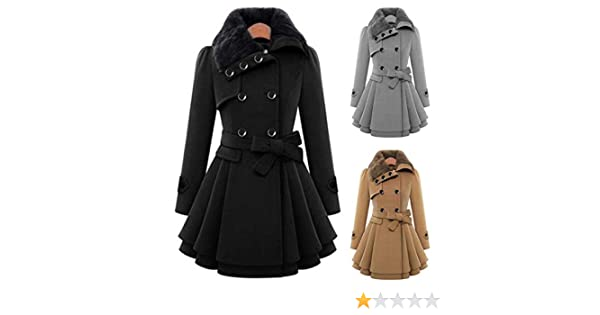 Evelove Women Casual A-line Pleated Double Layers Hem Coat Outwear Wool /& Blends